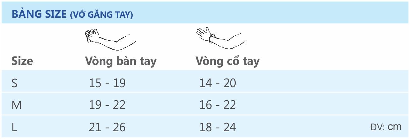BANG SIZE _ Vo gang tay